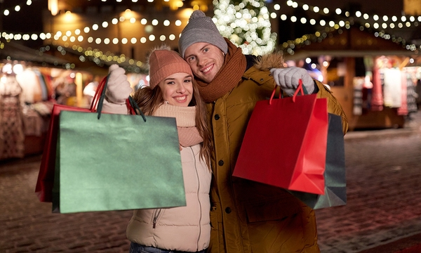 holidays, christmas and people concept - happy couple at with sh_635193