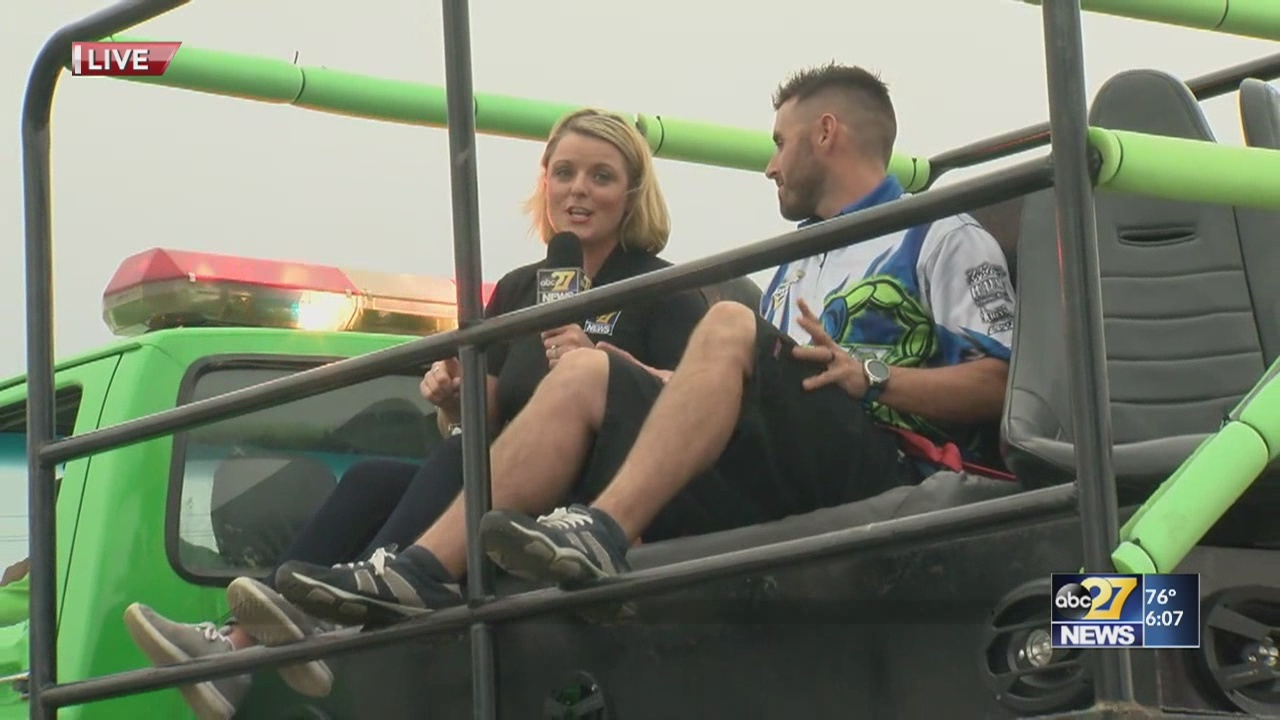 Ali Lanyon goes for a ride on a monster truck