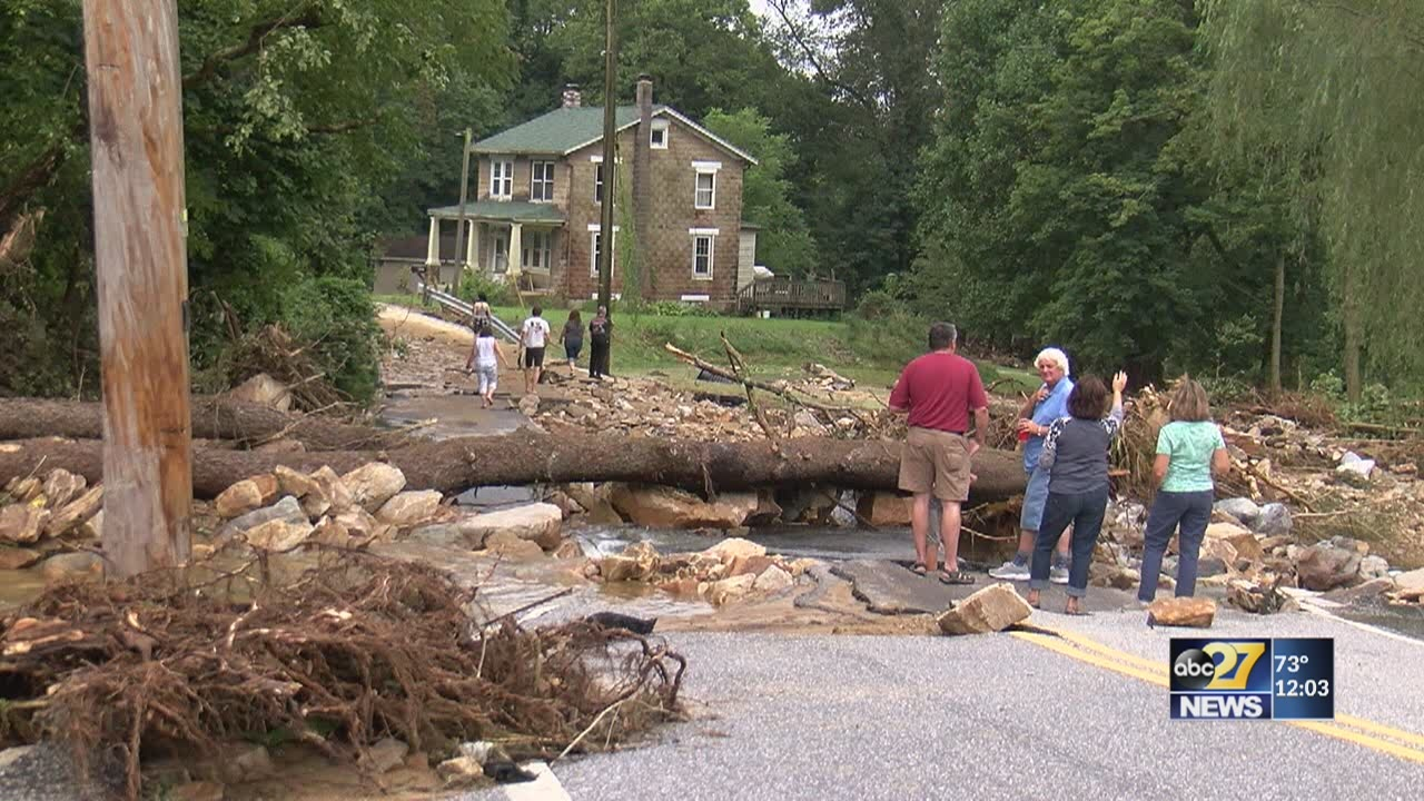 Barn, bridges and roads destroyed by flooding in York County
