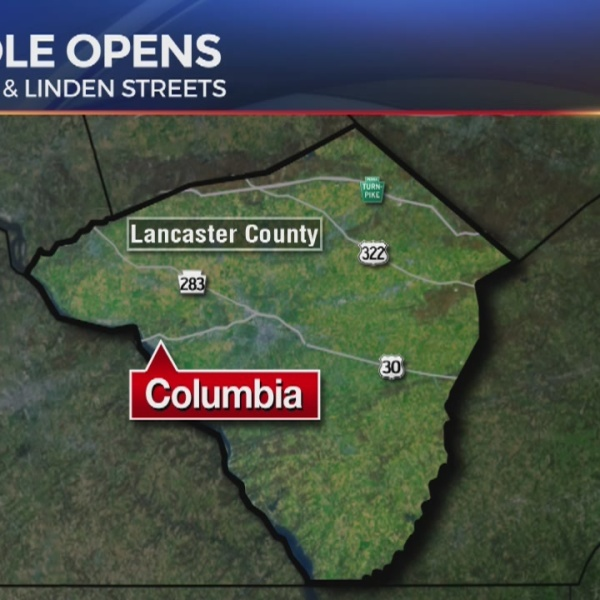 Sinkhole opens in Columbia, Lancaster County