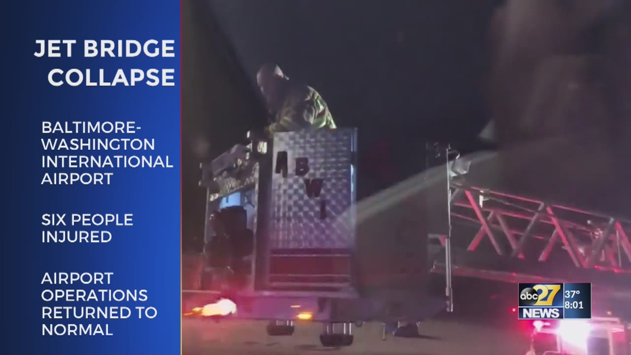 Six injured after jet bridge collapsed at BWI