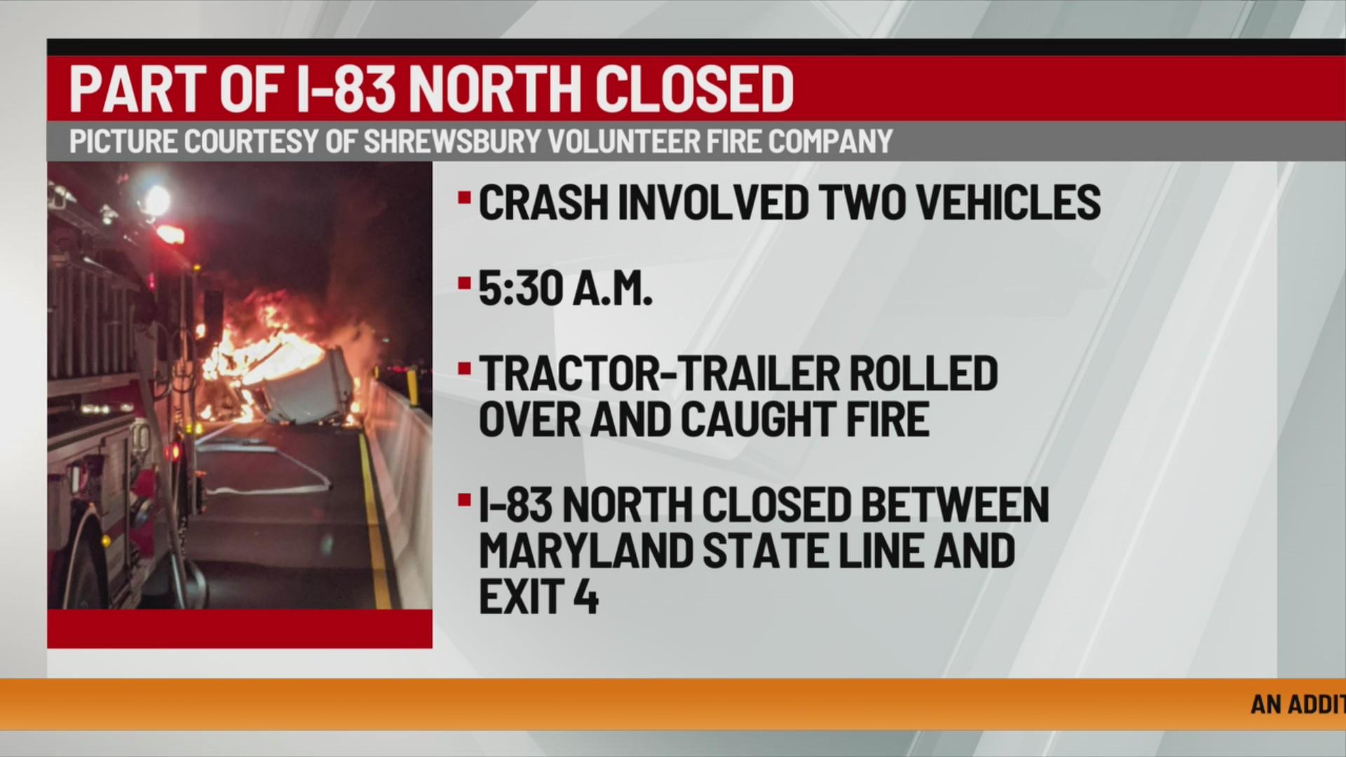 York County crash I-83 major backup