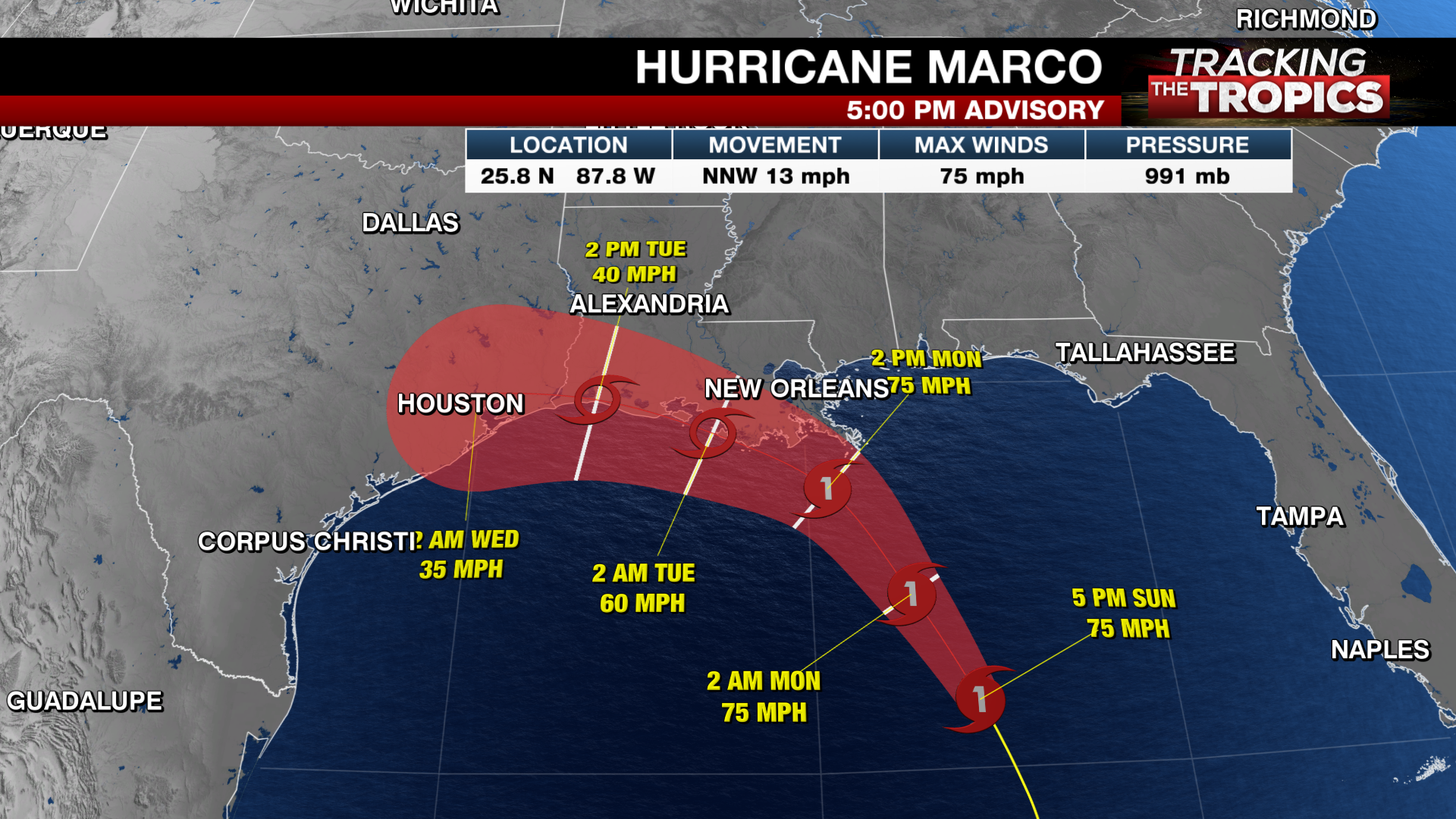 Tracking The Tropics Marco Weakens To Tropical Storm As It Moves Over The Gulf Laura Continues To Strengthen Abc27