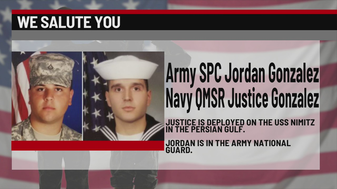 We Salute You Army SPC Jordan Gonzalez, and Navy QMSR Justice Gonzalez